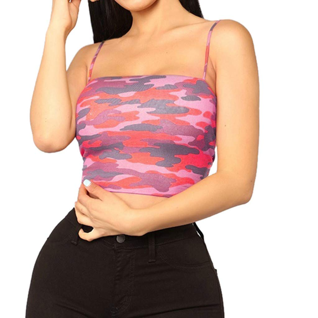 NUWFOR Women Camouflage Sleeveless Tank Top Bustier Bra Vest Crop Blouse Camis Tops(Hot Pink,US M Bust:32.3-33.8'')