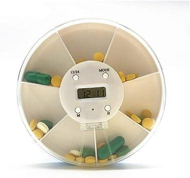 Caja de Pastillas Organizador de escritorio 7 rejilla Organizador de cajones de medicina electrónica inteligente Hogar al aire libre Temporizador portátil Recordatorio de medicación Reloj 5 Despertado: Amazon.es: Salud y cuidado personal