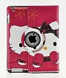 LiViTech Hello Kitty Design 360 Degree Rotating PU Leather Hard Case for Apple iPad 4 3 2, Mini 2 with Retina and iPad Air (iPad 2 3 4, Color 5)