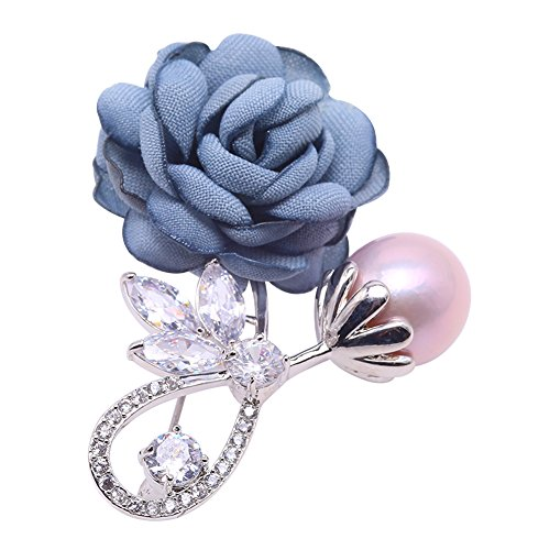 JYX Rose-style Brooch Round Lavender Freshwater Pearl Brooch Pin by JYX Pearl