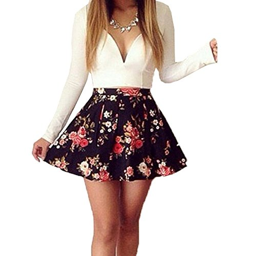 [Meily(TM) Womens Long Sleeve V Neck Floral Cocktail Short Slim Dress] (Floral Short Dress Shorts)