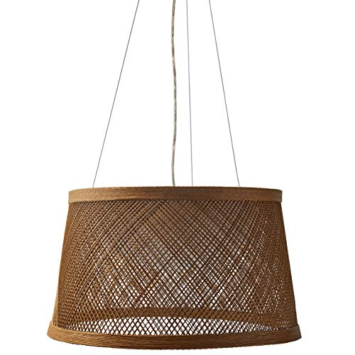 - Stone & Beam Modern Coastal Raffia Ceiling Hanging Pendant Chandelier Fixture With Built-In LED Light - 20.3 x 11 Inch Shade