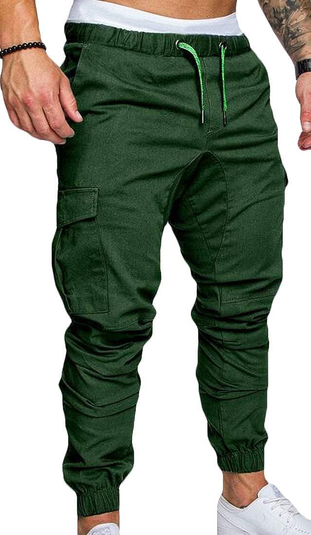 UUYUK Men Multi-Pockets Solid Color Cargo Pants Skinny Trousers