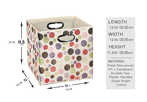 [6 Pack,Polka & Love Pattern] Large Storage Bins, Containers, Boxes, Tote, Baskets  Collapsible Storage Cubes For Household Offices Organization  Nursery Foldable Fresh Cubes  Dual Plastic Handle by Prorighty (Image #2)
