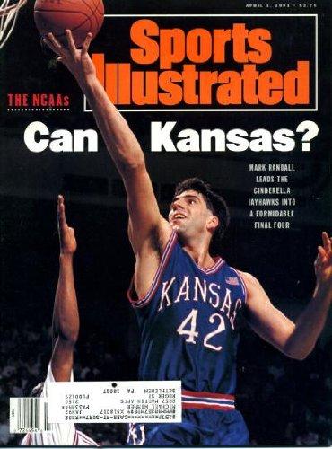 Sports Illustrated April 1 1991 Mark Randall/Kansas Jayhawks on Cover, Bo Jackson, Harry Sinden/UCLA, Bobby Hurley/Duke, Greg Anthony/UNLV, Rick Fox/North Carolina, Kansas ()