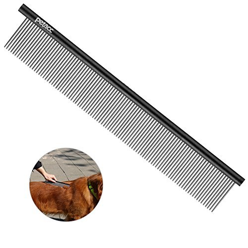 Petacc Stainless Steel Pet Grooming Comb Practical Pet Shedding Comb Pet Grooming Brush with Rounded Needles, Black
