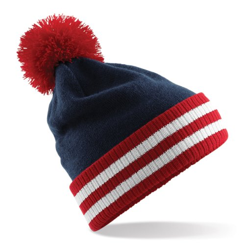 Beechfield Adult Stadium Beanie - French Navy/Classic - Classic Hat Wool Red