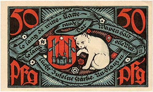 (1920 DE RARE 1920 GERMAN NOTGELD w FAMED WHITE CAT LICKING PAW (SOAP CO. MASCOT) 50 Pfennigs AU-CU)