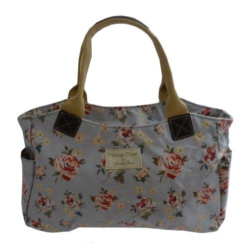 Womens Shoulder Tote Bag Vintage Floral Oilcloth
