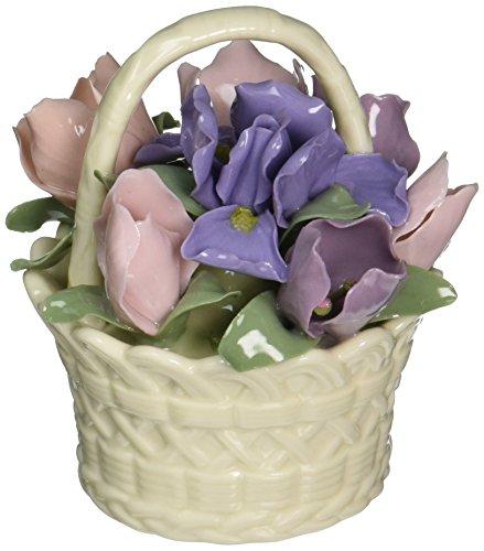 Cosmos 96365 Fine Porcelain Floral Basket Figurine, 3-3/4-Inch