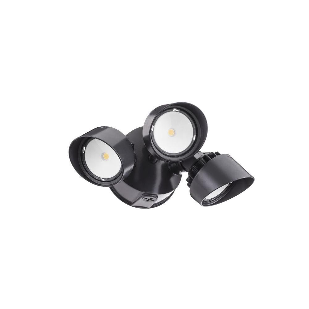 Lithonia Lighting OLF 3RH 40K 120 BZ M4 Contractor Select 3-Head Outdoor Integrated LED Security Flood Light Round 4000K Black Bronze