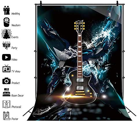 YEELE 8x10ft Dreamy Guitar Photography Background Rock Band Music Show Backdrop Guitarist Plays Solo Picture Singer Boys Adults Artistic Portrait Photoshoot Studio Props