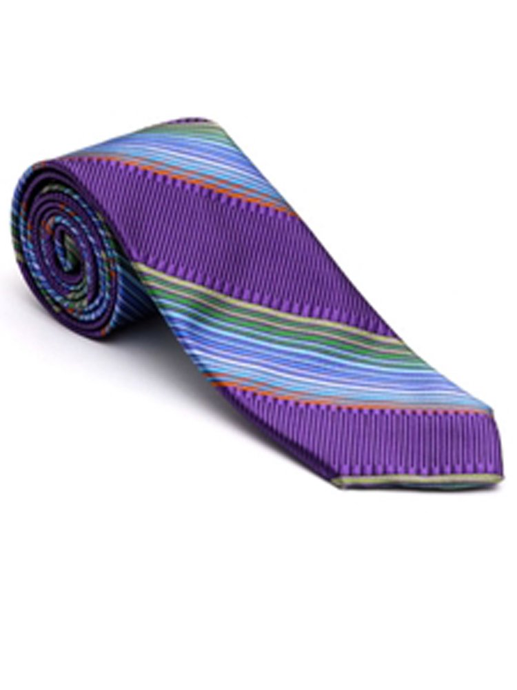 Robert Talbott Purple with Green Bixby Satin Stripe Estate Tie
