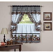 "Fruit Cornucopia Mason Jar Kitchen Curtain Tiers and Swag Cottage Set (57"" x 24"")"
