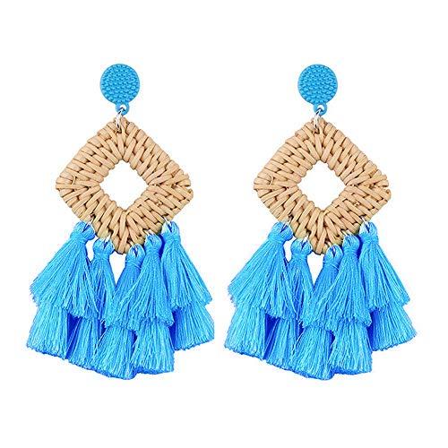 - Meangel Rattan Tassel Earrings for Women Bohemian Statement Handmade Woven Drop Dangle Earrings