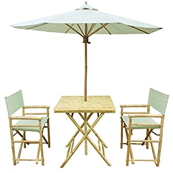 Merveilleux Zew Handmade 4 Piece Bamboo Folding Bistro Set With Square Table, 2  Director Chairs
