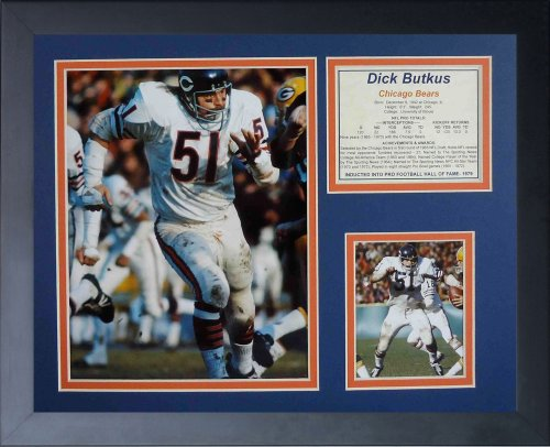 Legends Never Die Dick Butkus Away Framed Photo Collage, (Dick Butkus Signed Photo)