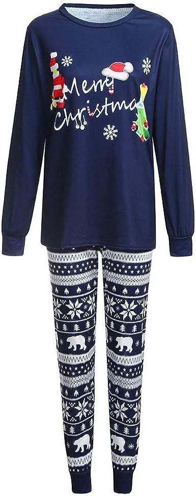 Trisee Navidad Conjunto de Pijama Familia, Camiseta de Manga Larga con Estampado Navideño Pants Pantalones y Gorro con Estampado de Oso, Pijama ...