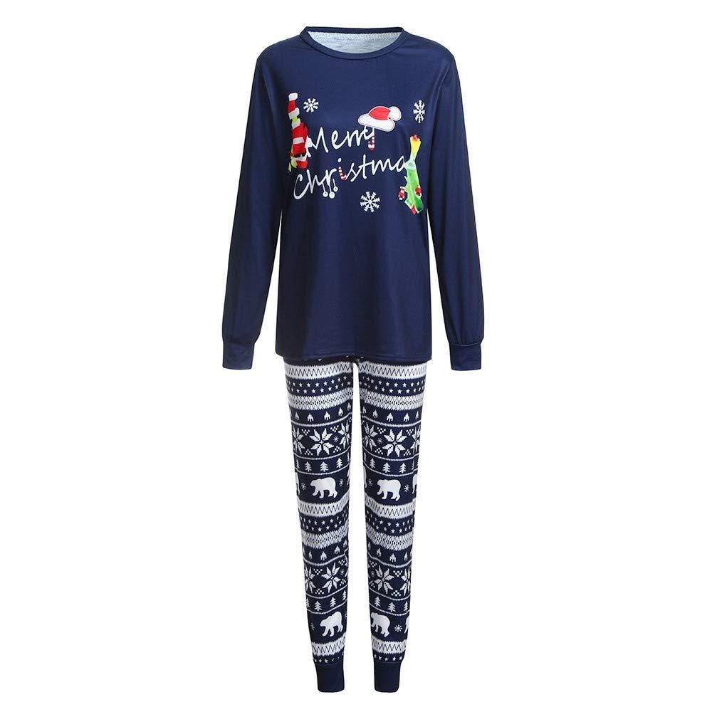 BOLUOYI Christmas Lady Mom Cartoon Letter Print Top+Deer Pants Family Clothes Pajamas 2384-yoga pants