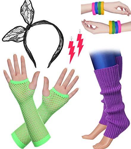 BABEYOND 80s Outfit Costume Accessories Neon Earrings Fishnet Gloves Leg Warmers Headband Bracelets (Set 11) -