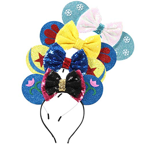 Minnie Mouse Ears Bow Headbands Glitter Party Decoration Frozen Inspired Princess Elsa Anna Snow White Mickey Ears Headband for Kids]()