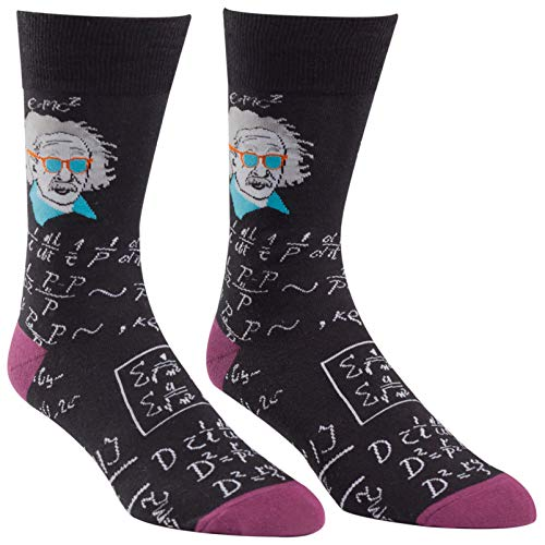 Sock It To Me Relatively Cool Einstein Mens Crew Socks Black 713