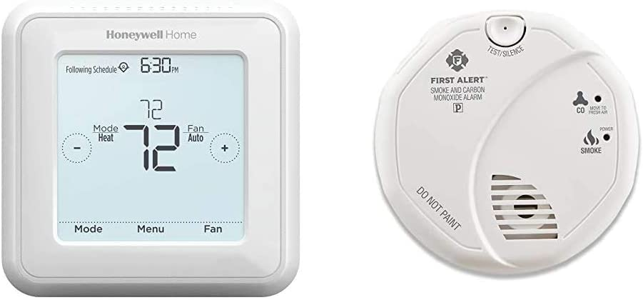Honeywell Home RTH8560D 7 Day Programmable Touchscreen Thermostat & First Alert Smoke Detector and Carbon Monoxide Detector Alarm | Battery Operated, SCO5CN