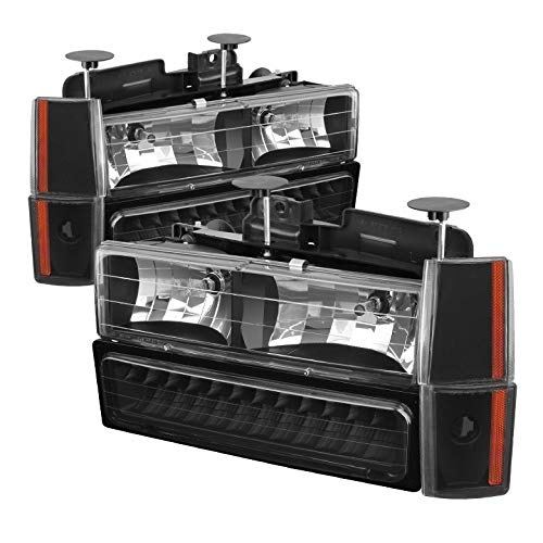 For 1988-1993 Chevy/GMC C/K Series Black Headlights + LED Bumper + Corner Lights Pair Left+Right 1989 1990 1991 1992