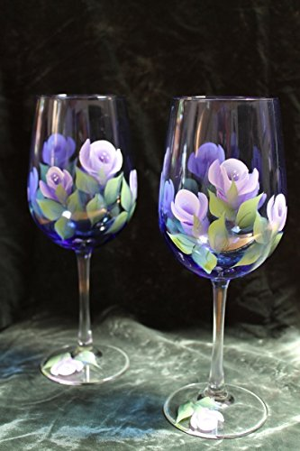 (Hand Painted Wine Glasses - Roses Lavender and White on Cobalt Blue glass (Set of 2))