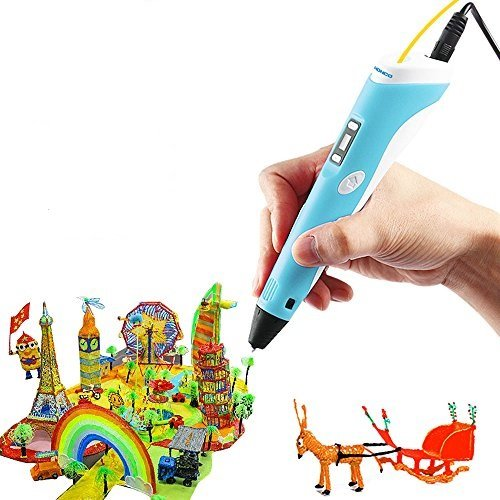 3D Pen,SHONCO 3D Printing Pen with LCD Screen Display for 3D Drawing Modeling Arts Crafts Doodle with 3 Color 1.75mm ABS Filament (Blue) by SHONCO