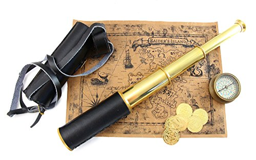 Well Pack Box Kids Pirate 10 piece Treasure Map Hunt Kit Brass Telescope Leather Case Swashbuckler Captain Brass Compass Gold Metal Coin Doubloons (15