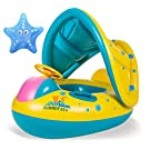 OTOO Baby Swimming Float Boat,Pool Floats with Sunshade Canopy for Kids,Inflatable Pool Seat with Horn