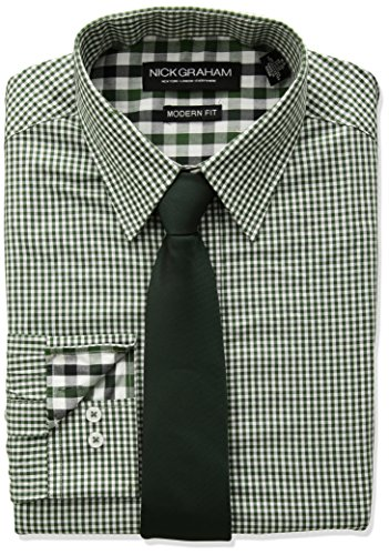 Nick Graham Men's Mini Gingham Check Dress Shirt With Solid Tie Set, Green, 16