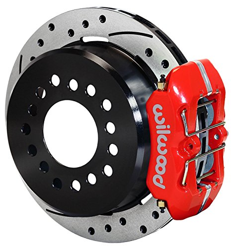 """NEW WILWOOD REAR DISC BRAKE KIT FOR CHEVY C-10 & C-15 AXLE FLANGES, 11"""" DRILLED ROTORS, RED DYNAPRO 4 PISTON CALIPERS, PARKING BRAKE ASSEMBLIES, FITS THE REAR ENDS UNDER MANY GM CARS TRUCKS AND SUVS -  140-11385-DR"""
