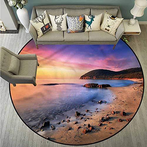 (Round Carpets,Beach,Beach Pebbles Sunrise,Rustic Home Decor,2'11