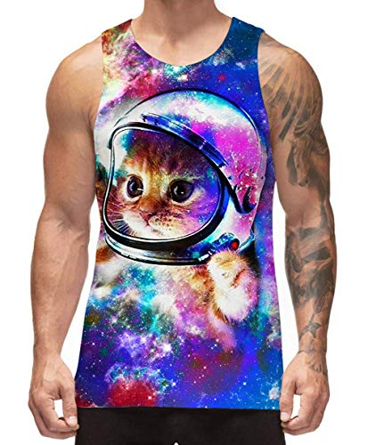 - Mens Graphic Tank Tops Galaxy Cat Universe Astronaut Workout Tank Shirts Graphic Surfing Rave Fashion Designer Novelty Cool Slim Fit Outdoor Recreation Compression Sports Sleeveless Tee Shirts, Medium