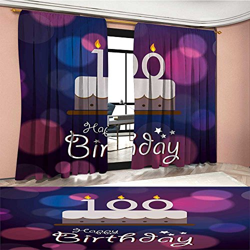 Price comparison product image Mannwarehouse 100th Birthday Patterned Drape For Glass Door Cartoon Print Cake and Candles on Abstract Backdrop Image Artwork Print Waterproof Window Curtain Purple and Pink