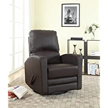 Swivel/Rocker Leather Recliner-Nursery-All Leather in Grey