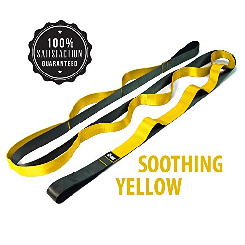 Multi Loop Stretch Nylon Yoga Strap by THINK Yoga | Helps Develop & Improve Balance & Flexibility for all Sports, Fitness & Therapeutic Activities | Stretch Guide & Pouch Included