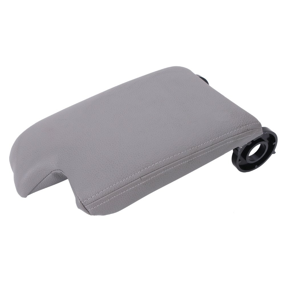SP-Auto Grey Leather Armrest Center Console Armrest Lid Cover For BMW E46 1999-2004 (Not just the leather part, include whole cover in the picture) include whole cover in the picture)