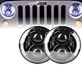 Xprite 7'' Inch 100W 9000 Lumens Hi/Lo Beam Cree LED Headlights With Side Halo Ring DRL For Jeep Wrangler JK TJ LJ 1997 - 2016