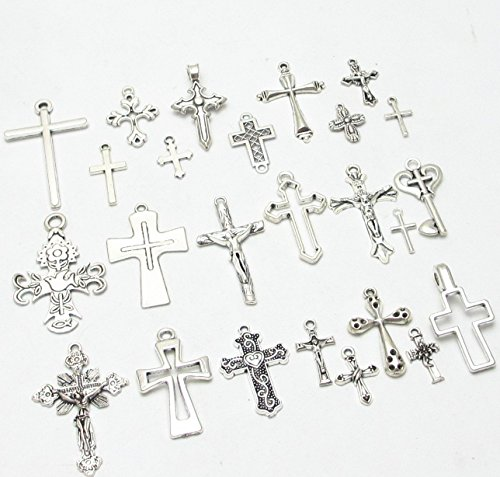 Dandan DIY 25pcs Assorted Styles Latin Cross Antique Charms Beads Alloy Pendant Craft Accessory Diy Necklace Bracelet Craft Jewelry Making Supply (Latin Cross) (Cross Pendant Craft)