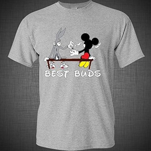New Way Best Buds Funny Weed Smoking T-Shirt 420 Kush Cartoon Pot Unisex T-Shirt XLarge Heather Grey (Best Buds Stick Together Shirt)