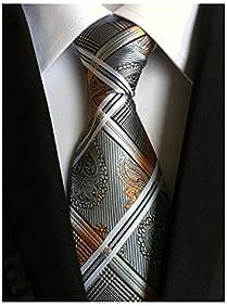 Allbebe Men's Fashion Grey Jacquard Woven Silk Tie Microfiber Formal Necktie