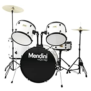 Mendini by Cecilio Complete Full Size 5-Piece Adult Drum Set with Cymbals, Pedal, Throne, and Drumsticks, Gloss White, MDS80-WH
