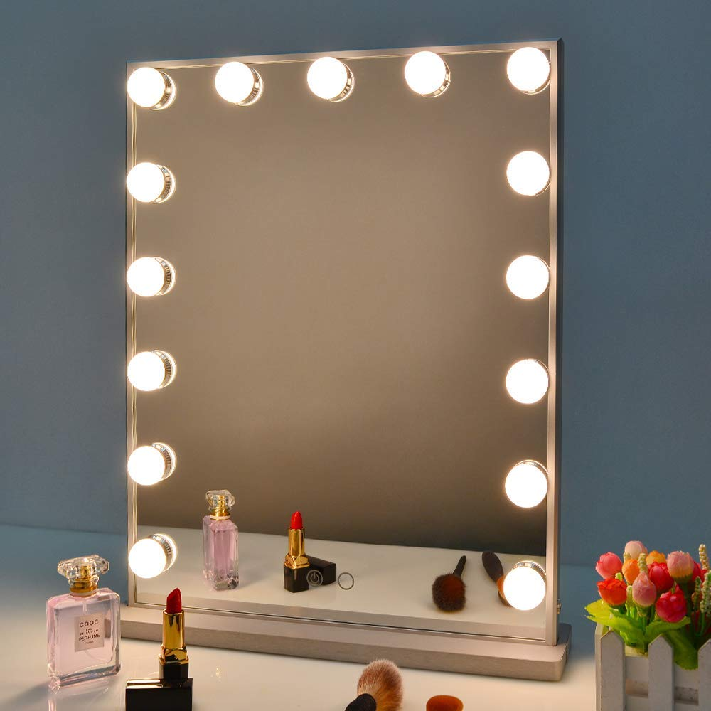 Nitin Hollywood Vanity Mirror with Lights, Dimmable Tabletop Wall Cosmetic Lighted Makeup Beauty Mirror