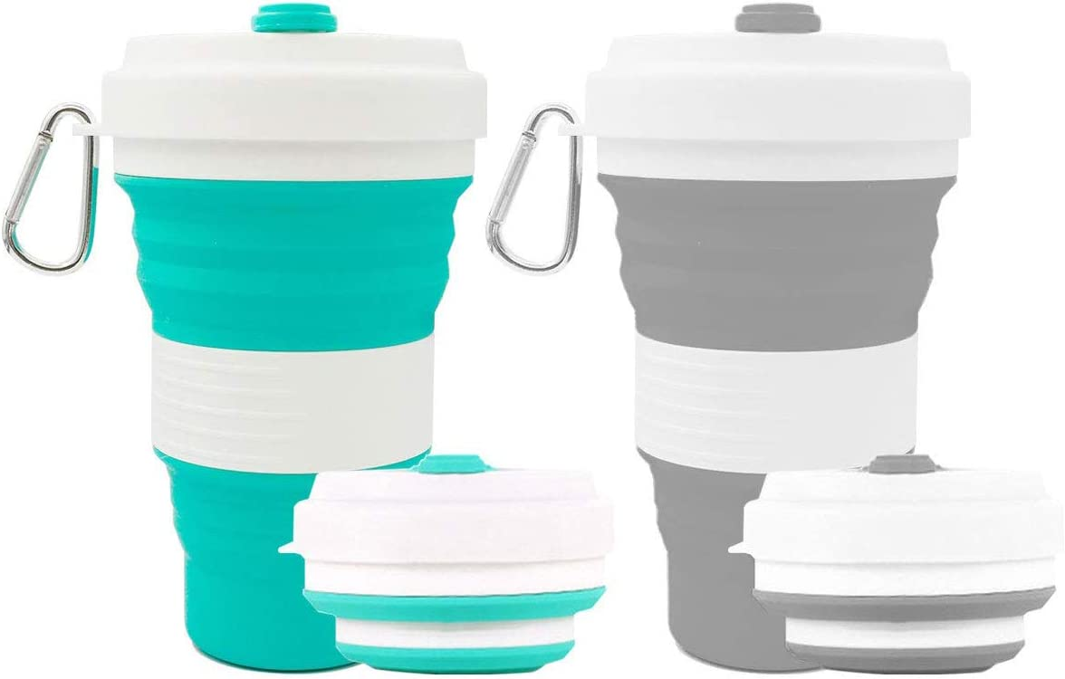Bakerpan Silicone Travel Collapsible Camping Cup Teal Mug with Lid 9 oz