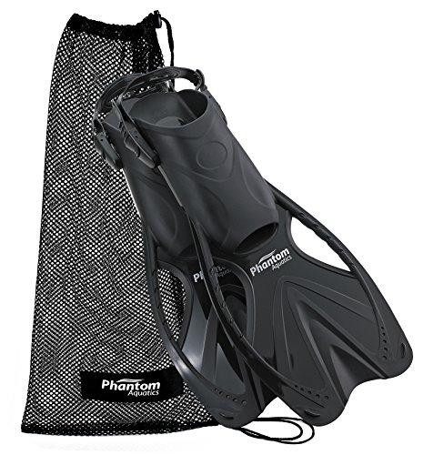 Phantom Aquatics Speed Sport Adjustable Snorkeling Fin, Black, Small/Medium (Size (Open Heel Snorkeling Fins)