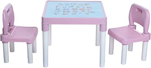 Kimanli Children's Study Table and Chair Set Kindergarten Children's Chair Painting Chair Plastic Kids Table and 2 Chairs Set