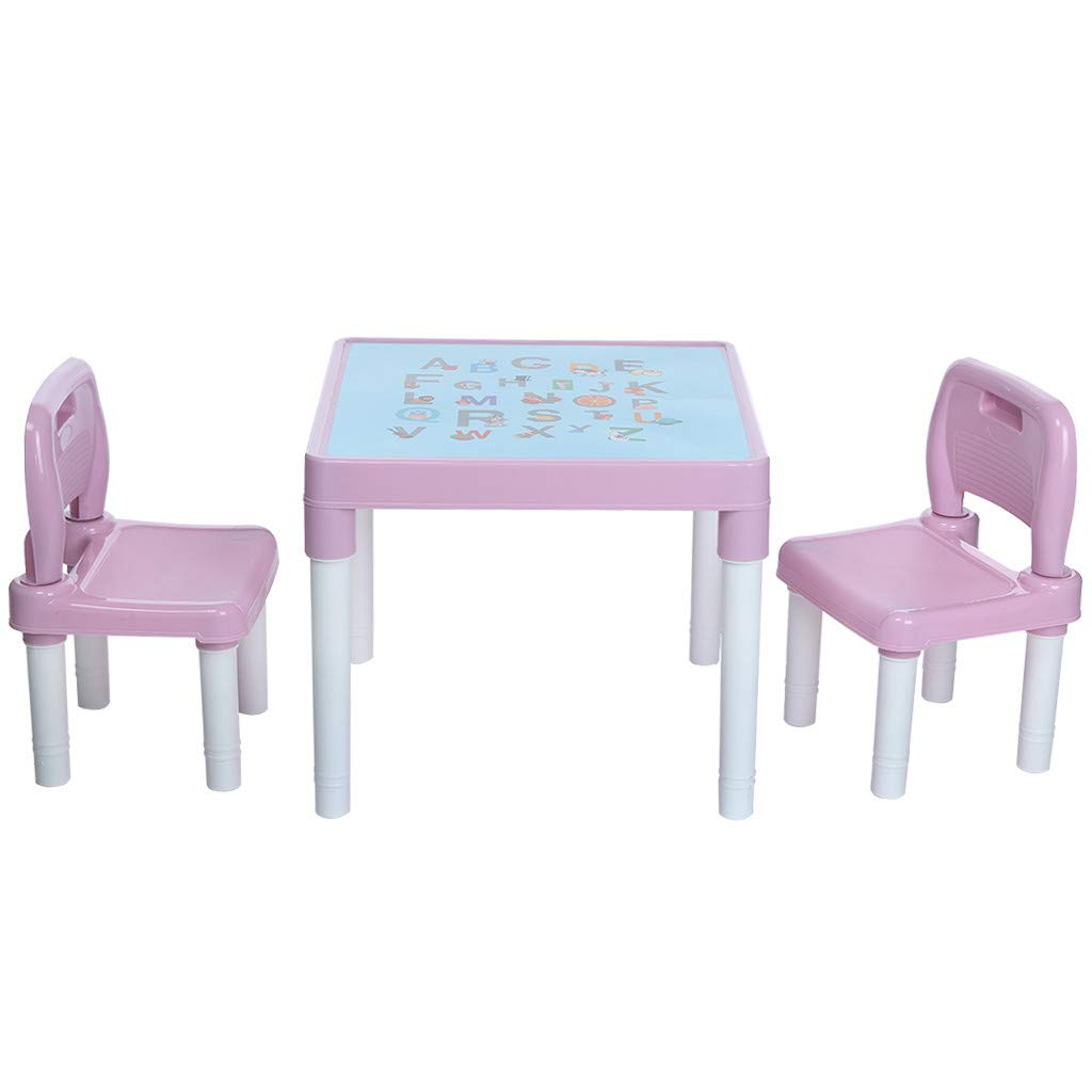 Wesracia Kids Table and Chairs Set - US Made - Toddler Activity Sturdy Plastic Desk for Lego, Reading, Play (2 Seats & 1 Table) (Pink) by Wesracia (Image #2)